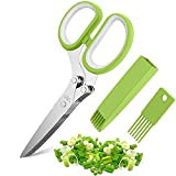 VIPMOON Herb Scissors, Multipurpose Kitchen Cutting Shear with 5 Stainless Steel Blades