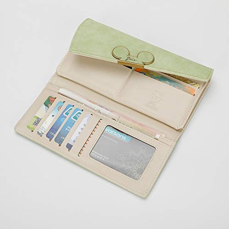 New Korean Version of The Matte Long Wallet Diagonal Cover Wallet 3 fold Women's Cute Long Wallet Wallet (color   Pink) Ladies Purses (color   Green)