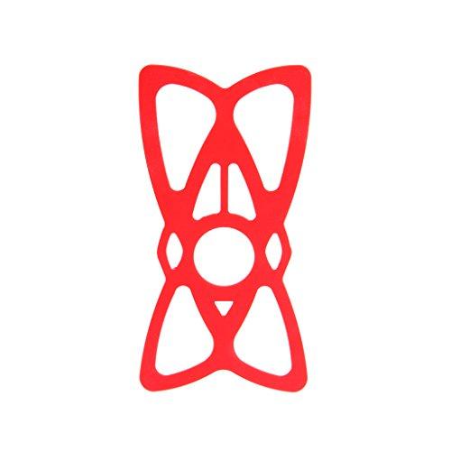 BLEUNUIT Banda de Seguridad con Soporte para teléfono, Soporte para teléfono Celular Bandas de Seguridad de Silicona Montaje Manillar de Bicicleta de Motocicleta-Rojo