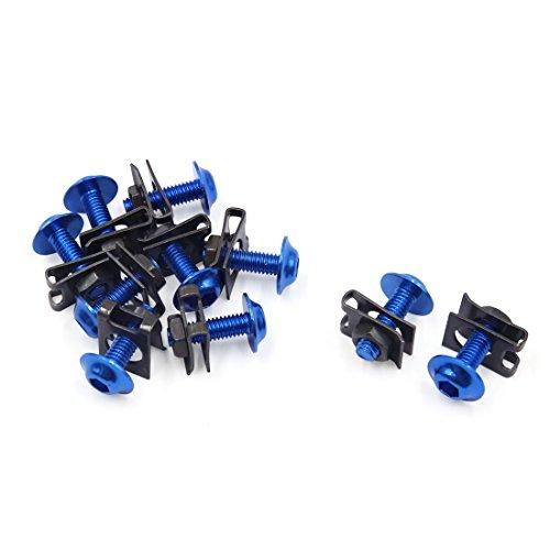 sourcingmap Vis Hexagonale Écrou Boulon Carénage Support métal pour Moto Scooter Bleu 10pcs