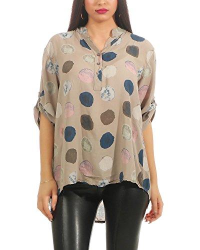 ZARMEXX Damen Bluse Sommer Tunika Punkte-Print Kurzarm Shirt Loose Fit leichte Baumwollbluse (Cappuccino, 38-42)
