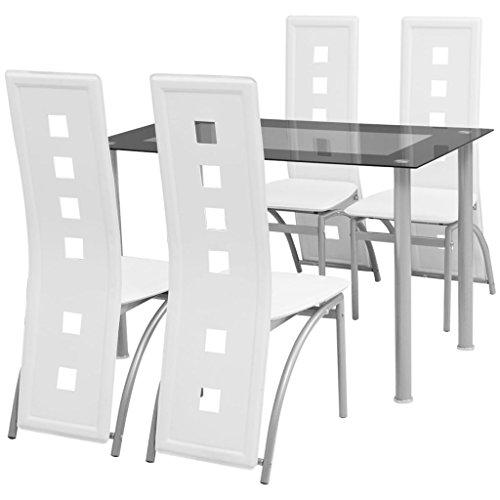 Festnight 5-teilige Essgruppe Sitzgruppe Tischgruppe Esstischgruppe | Esstisch + Stuhlset | 1 Tisch & 4 Stühle | Weiß