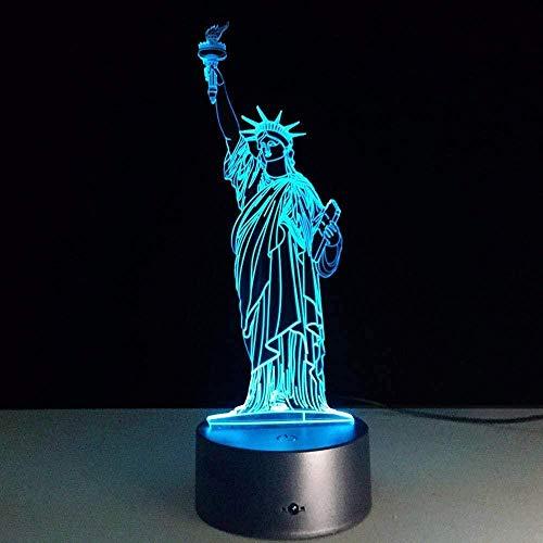 Lámpara de mesa 3D 7 cambio de color acrílico interruptor táctil remoto dormitorio lámpara de mesa Led USB luz de noche creativa decoración regalo de cumpleaños creativo