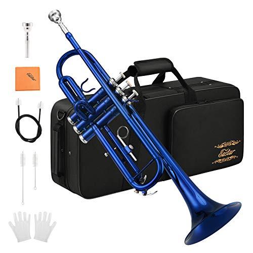 Eastar Bb Trompete mit Koffer Mundstück Handschuhe Reinigungsanzug Reinigungstuch, Blau (ETR-380BU)