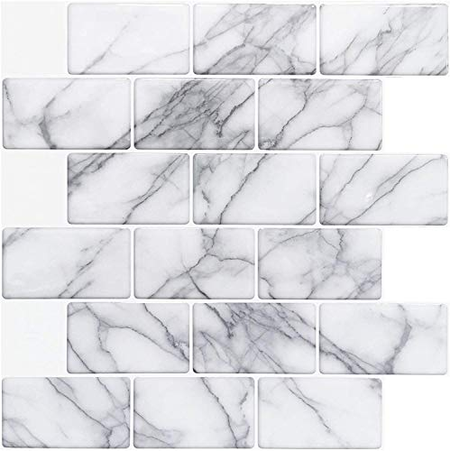 Art3d 10 hojas de azulejos para cocina (12 x 12 pulgadas, mármol gris)