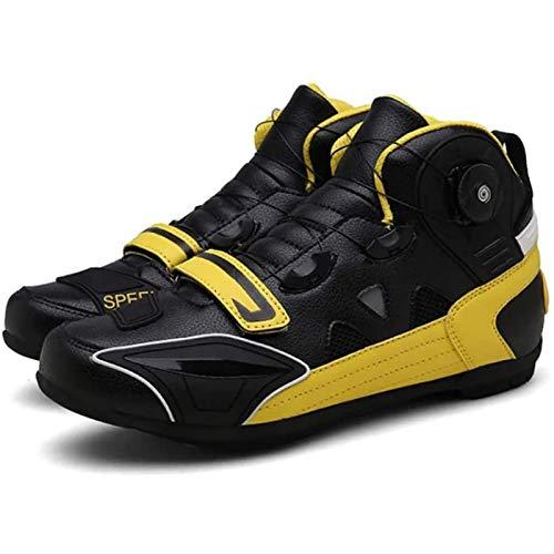 WDZJM Calzado de Ciclismo, Botas de protección con botón de Giro para Bicicleta de Carreras Todoterreno para Hombre, Botas para Motociclista al Aire Libre de Carretera (Color : Yellow, Size : 42)