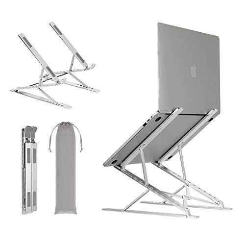Neekor Portable Laptop Stand, 6+9 Multi-Angle Adjustable Aluminium Alloy Laptop Riser, Ergonomic Ventilated Desktop Holder Compatible with All Laptops, MacBook and Ipad (Silver)