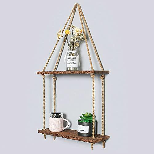 HNZNCY Estantes flotantes de madera con cuerda de cuerda para colgar estantes de pared rústicos envejecidos para decoración de pared de madera, estante flotante para sala de estar (2 niveles)