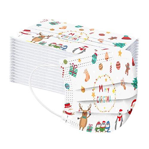 AOGOTO 40 Stück Kinder Einweg-Multifunktionsstoff Mode Weihnachten Bedruckte Baumwolle atmungsaktive staubdichte Schutz Weihnachten Gemustert Handtuch für Jungen und Mädchen Weiße Weihnachten