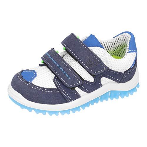 RICOSTA Kinder Low-Top Sneaker Pepe von Pepino, Weite: Mittel (WMS), Klett-Verschluss Maedchen Kinderschuhe toben,Ozean/Weiss,26 EU / 8 Child UK