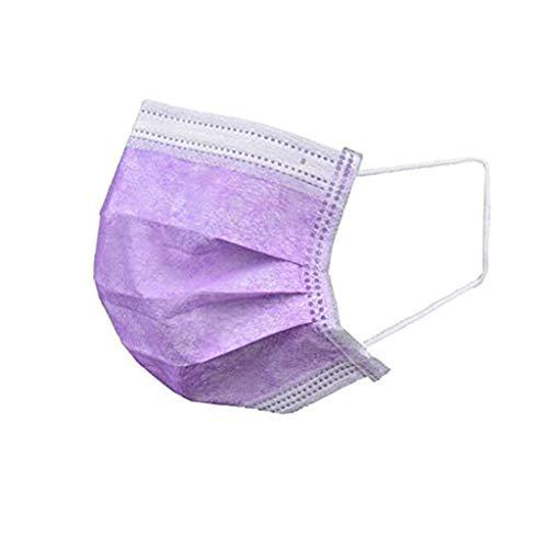 Beautynie 30 Stück Einweg 3-lagig Mundschutz Violett, Staubschutz Atmungsaktive Mundbedeckung, Erwachsene, Bandana Face Cover Sommerschal
