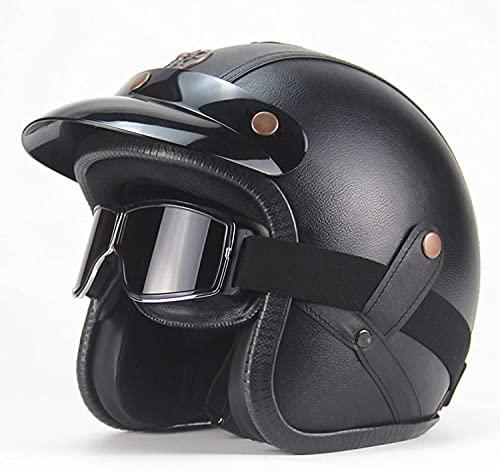 YUnZhonghe Casco de motocicleta Moto Adulto Casco de cara abierta para hombres Mujeres, Retro 3/4 Motocicleta Medio Cascos, Dot Aprobado, Cruiser ciclomotor Vintage Jet Casco para hombres y mujeres Ca