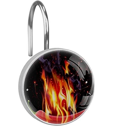 YATELI Ganchos para Cortinas de Ducha - Chile ardiente - Juego de 12 Anillos de Ducha para Barra de Cortina de Ducha para baño - 100% a Prueba de Herrumbre