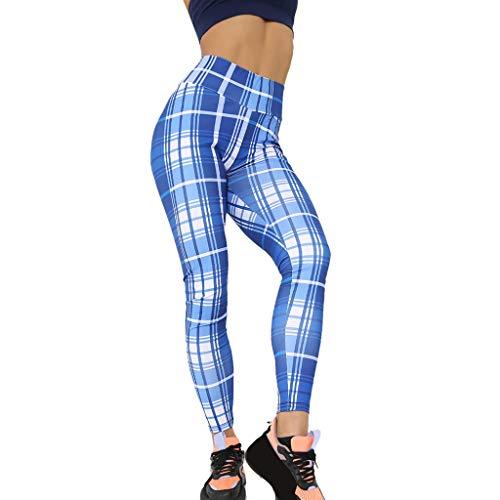 WOZOW Clearance Leggings Gamaschen Damen Plaid Muster Print Druck Long Lang Jogger High Waist Dünn Skinny Strecken Casual Fitness Sporthosen Yoga Workout Laufhose (L,Blau)