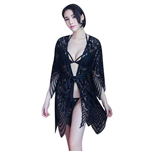 Bleulucon Lingerie érotique Porn Sexy Hot Erotic Lingerie Pyjama Femme 3Pcs / Set Robe Transparente Long Peignoir Noir + Soutien-Gorge Sexy + Culottes Sexy(Mises à Jour Continues)