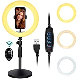 Thustar 10' Led Ring Light, Selfie Ring Light with Stand and Phone Holder Dimmable Desktop Ring Light with 3 Light Colors,10 Brightness for Makeup/Live Stream/YouTube Video/Photography, Bluetooth