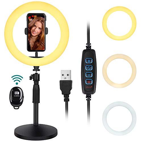 Thustar 10 Zoll USB LED Ringlicht mit Ständer, Selfie Ringleuchte 3 Farbe und 10 Helligkeitsstufen, LED Ringlicht mit Fernbedienung, für YouTube Tiktok Vlog Selfie Makeup Live Stream