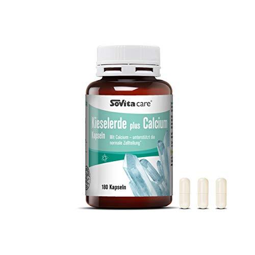Kieselerde plus Calcium Kapseln | Mit Calcium - unterstützt die normale Zellteilung | Nahrungsergänzungsmittel | 180 Kapseln