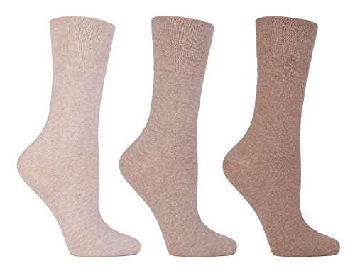 Gentle Grip 6 Paar Damen Sockshop Diabetic Socken 4-8uk 37-42eur natürliche Mischung