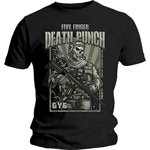 Five Finger Death Punch War Soldier T-Shirt, Nero (Black Black), Large Uomo
