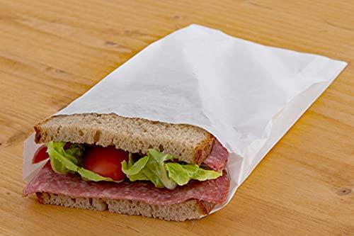 Sunmondo 200 szt. torebek śniadaniowych z papieru - szczelne worki na tosty, chleb, bułki, owoce - wymiary: 14 x 21 cm