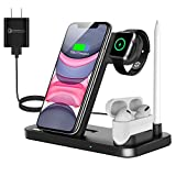 Wireless Charger, QI-EU 4 in 1 Qi-Certified 18W Fast Charging Station Compatible Apple Watch Airpods iPhone Se/11/11pro/X/XS/XR/Xs Max/8/8 Plus, Wireless Charging Stand Compatible Samsung S20/S10