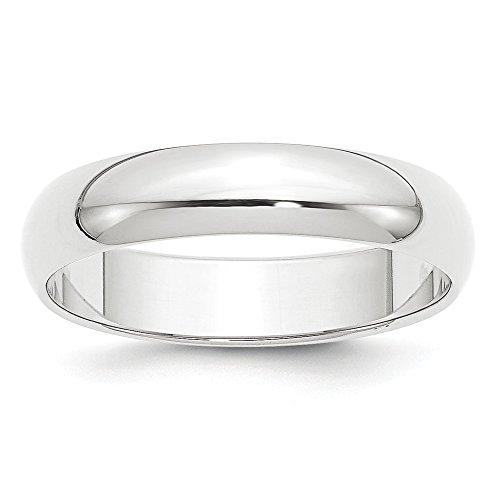 Alianza de boda de platino de 5 mm, media redonda, peso pluma, tamaño 5, para mujer