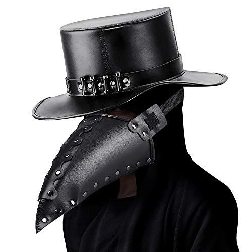 welltop Schnabelmaske, Halloween Maske Mittelalter Pest Maske Doktor Arzt Kopfmaske Steampunk Kostüm Zubehör für Erwachsene Halloween Party Fasching Karneval