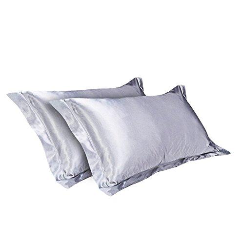 CHRISLZ 2pcs funda de almohada de seda estándar 50 * 75CM sedoso suave y arruga libre puro Color seda funda sin cremallera (GREY)
