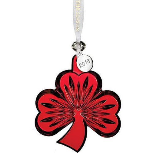 Waterford 2018 Shamrock Ornament, Red 3.8'