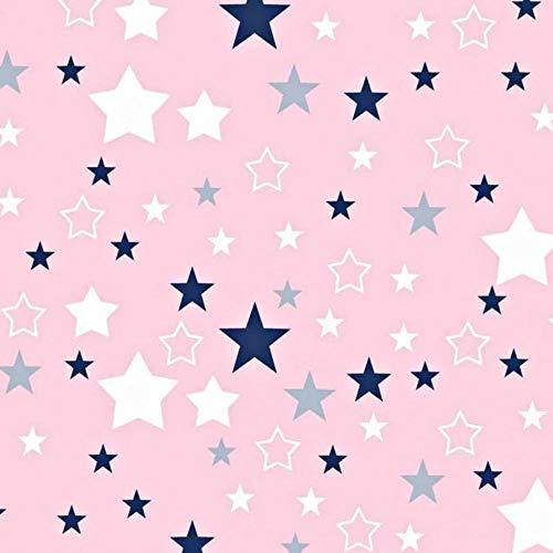 Pingianer 11,99€/m Sterne 100% Baumwolle Baumwollstoff Kinder Meterware Handwerken Nähen Stoff (Rosa Blau Weiß, 100x160cm (11,99€/m))