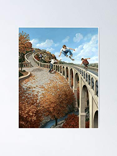 Rob Gonsalves Big Air Mc Escher Surrealism Sur - For Office Decor, College Dorm, Teachers, Classroom, Gym Workout And School Halloween, Holiday, Christmas Party ! Great Inspirational Wall Art Poster.