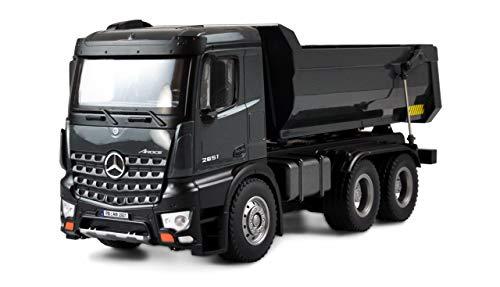 Amewi 22504 Mercedes Camión Kipper Pro Metal V2 Licencia vehículo teledirigido RTR 2,4 GHz batería Adicional Gris