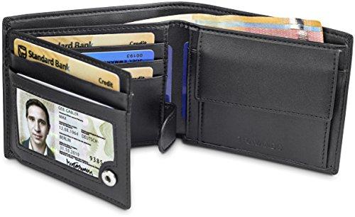 TRAVANDO ® Geldbörse Herren Tokyo mit RFID Schutz Geldbeutel schwarz Portemonnaie Portmonaise Geldtasche Brieftasche Hochformat Herrengeldbeutel Herrenbörse Herrengeldbörse Portmonee Geschenk Wallet