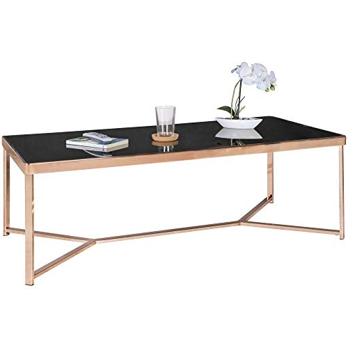 FineBuy Design Table Verre métal 120 x 40 x 60 cm Noir/Cuivre | Table du canapé Moderne | Table Basse en Verre Table | Table de Salon rectangulaire