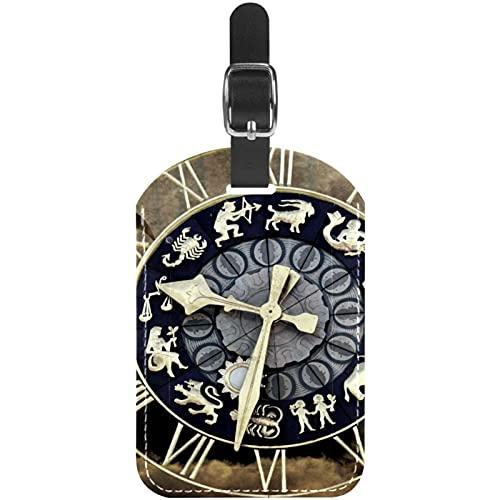 Reloj Tiempo Destino Etiquetas de Equipaje Lindo Cuero Personalizado con Lazo para Bolsa de Maleta de Viaje casmonal para Mujeres, Hombres y niños 11.4x7.1cm
