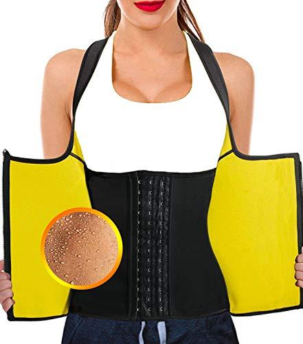 NHEIMA Chaleco Neopreno Sauna Mujer Fajas Reductoras Adelgazantes Mujer Compresion Sudoración para Adelgazar Reducir Cintura y Abdomen para Deporte Fitness (S, Amarillo)