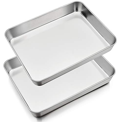 12.3 Inch Baking Sheet Pans Set of 2, P&P CHEF Stainless Steel Rectangle Lasagna Cake Pan, Heavy Duty & Easy Clean, Silver