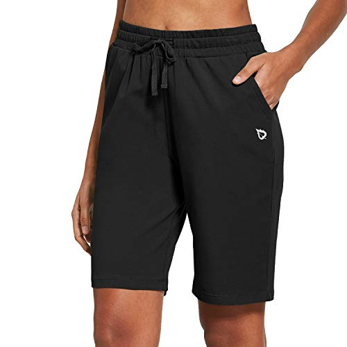 BALEAF Women's Bermuda Shorts Long Cotton Jersey with Pockets Athletic Sweat Walking Knee Length for Summer Workout Black Size L