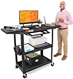 Line Leader Large AV Cart with Drop Leaves | Height Adjustable Utility Cart | Includes Pullout Keyboard Tray & Cord Management | Easy Assembly (66in x 18in x 42in / Black)