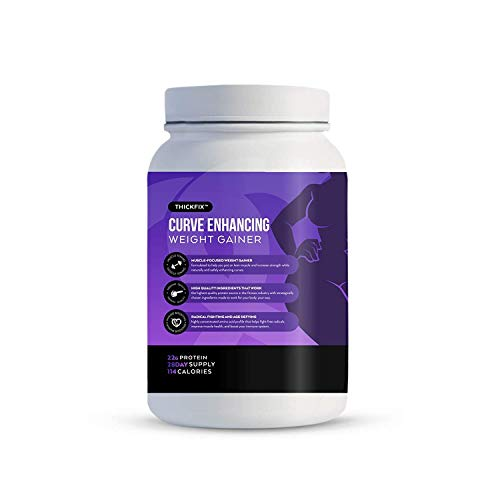 Gluteboost - ThickFix Curve Enhancing Weight Gainer Shake - Grass-Fed Whey Protein Powder with Amino Acids - Increase Curves and Muscle Mass - Volumizer Supplement for Women - Creamy Vanilla - 1 Month