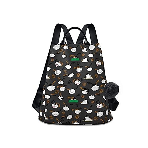 Mochila negra de la cremallera de las mujeres, bolso del patrón del perro de la moda, color sólido, 2021