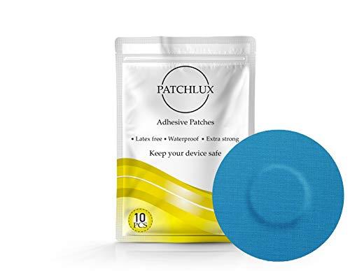 Patchlux - Patch adesive impermeabili per protezione sensore CGM | Compatibile con Freestyle Libre, Medtronic Guardian, Enlite | Senza foro | 10 pz, nastro pre-tagliato (blu)