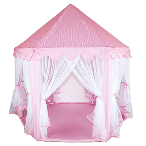 Rlock Kids Play Tent Garden Furniture Princess Castle Hexagon Playhouse House for Children Toddler Boys Girls Indoor and Outdoor Games Pink