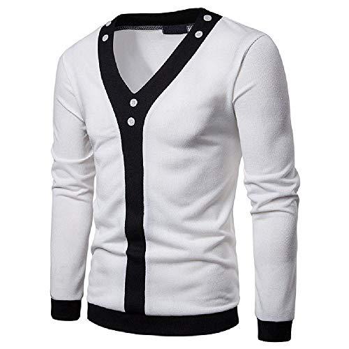 U/A - Cárdigan para hombre, color sólido, color frontal, a juego Blanco blanco XXL