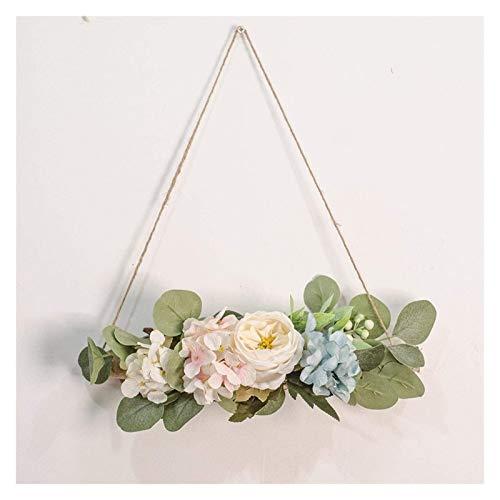 Peony Artificial Swag, Peony de seda Swags florales con hojas de eucalipto, Swags decorativos Guirnalda de primavera para la casa de la puerta de la puerta de la puerta de la casa de la decoración del