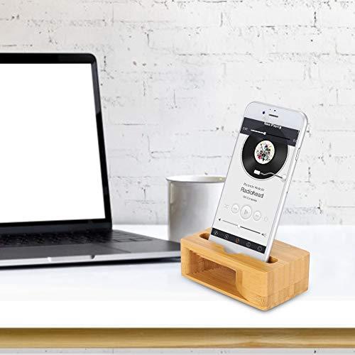Bamboo Wood Phone Sound Speaker, natuurlijke bamboestrepen, geselecteerde hoogwaardige bamboematerialen, geluidsversterkingskanaal met CNC-bewerking, detail gepolijst/afgeronde rand/hand gepolijst/