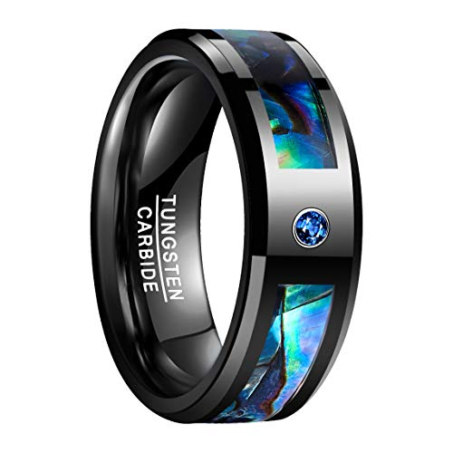 NUNCAD Herren Damen Partner Ring aus Wolfram 8mm Schwarz mit Blauem Zirkonia + Muschel für Hochzeit Verlobung Geburtstag Größe 59 (19)