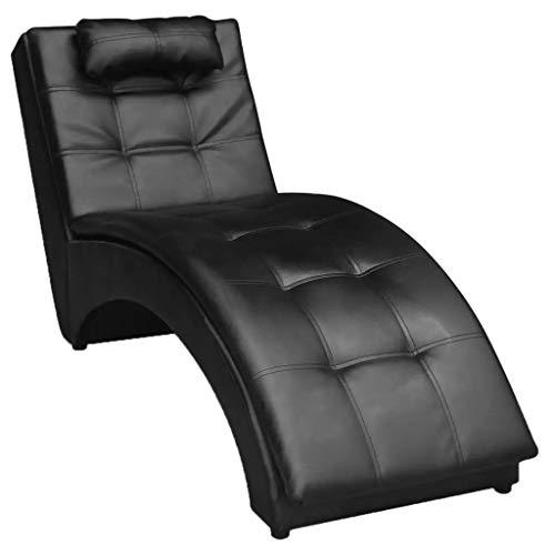 Ausla Diván de Cuero Artificial Negro 150 x 55 x 72 cm, Sillón Relax Tumbona Ergonómica para Hogar, Salón