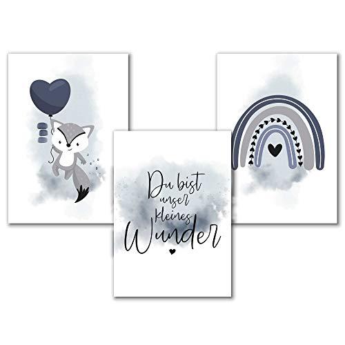 Aquarell Kinderzimmer Poster Jungen in Blau, A4 Set Bilder Babyzimmer Tiere, Spruch Wunder, Regenbogen, Fuchs, Tierbilder, Kunstdruck, Kinderposter